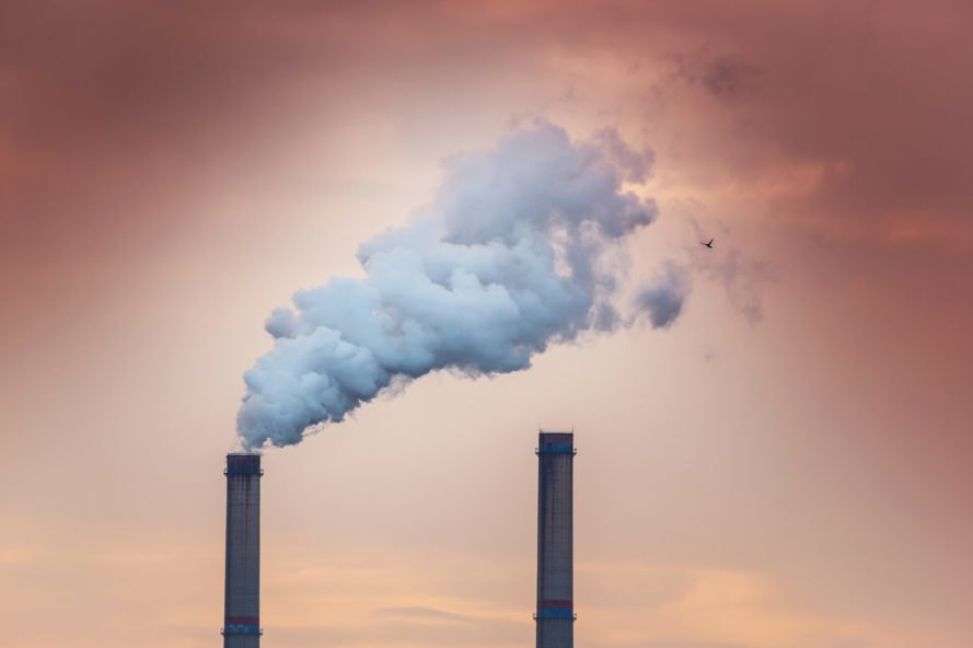 Power plant, coal power plant, smoke stack, smoke, industrial, sunset