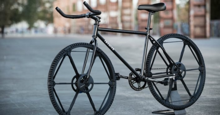The Revolve Wheel is a puncture-proof tire that folds into a