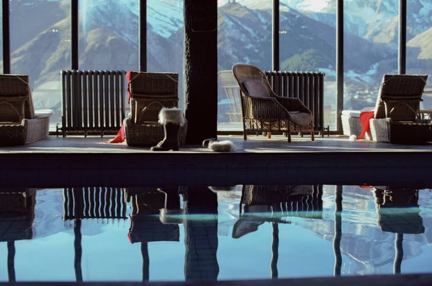 Rooms Hotel Kazbegi, renovated resort, green renovation, brutalist building, green resort, Georgia, Nata Janberidze, Keti Toloraia, luxury hotel, industrial design, terrace, swimming pool