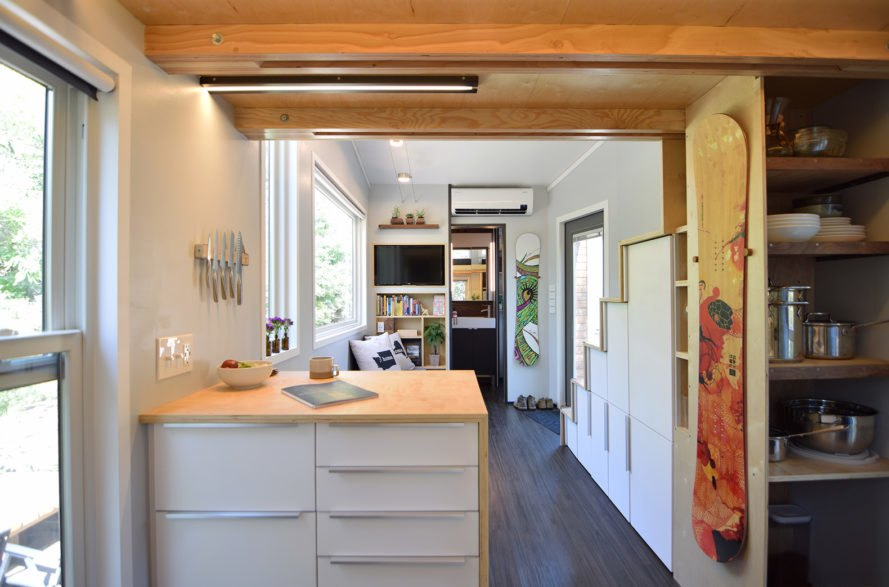 SHED tiny house, tiny house, tiny home, kitchen, sitting area, interior
