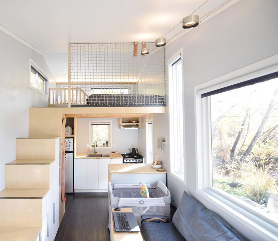 SHED tiny house, tiny house, tiny home, loft, loft net, sitting area, interior