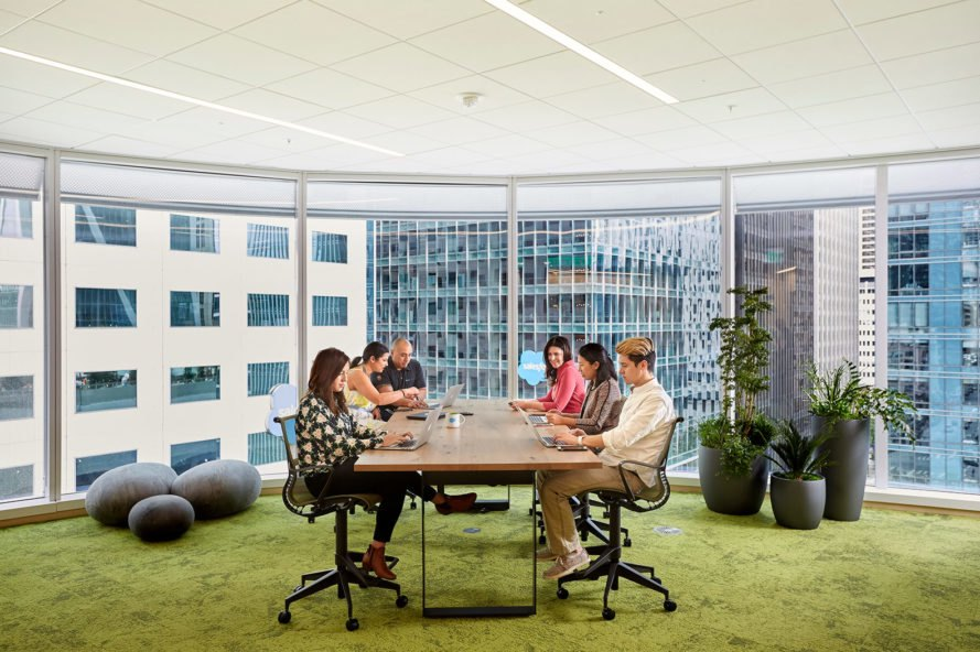 Salesforce Tower, office, workspace, working, meeting, employees