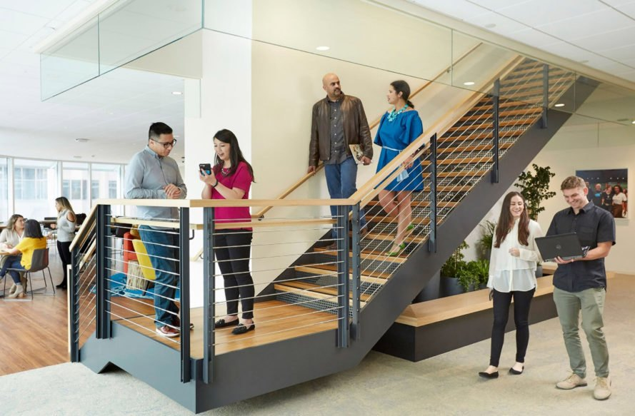 Salesforce Tower, office, staircase, employees, workers, office interior