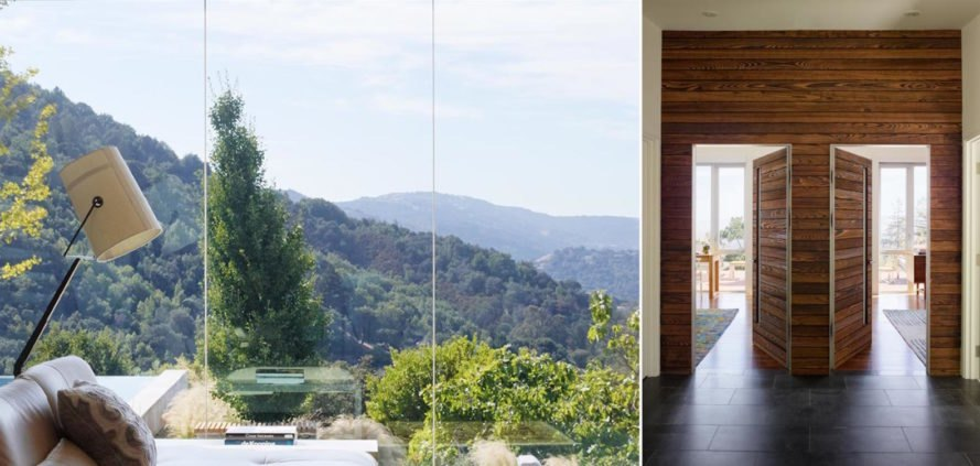Shou Sugi Ban House by Schwartz and Architecture, Shou Sugi Ban House, Shou Sugi Ban House Silicon Valley, charred timber architecture in Los Gatos, floating staircase walnut and metal, cantilevered walnut treads