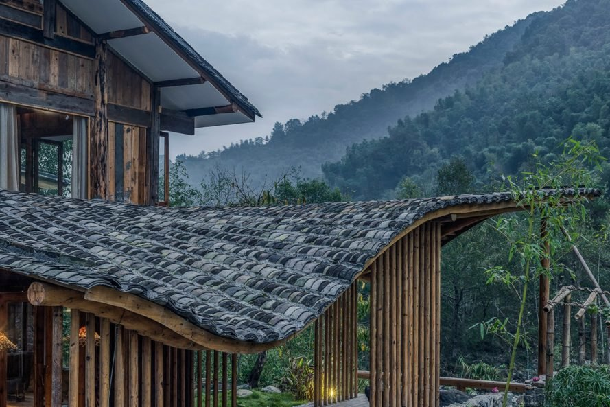 WEI Architects, Springingstream guesthouse, undulating roofs, wavy roofs, nature-based design, reclaimed materials, chinese architecture, renovated guest house, reclaimed building materials, chinese guest home, wavy roof tiles, interior design, vernacular design, natural air ventilation, traditional chinese architecture, renovating villages, restoring villages in china