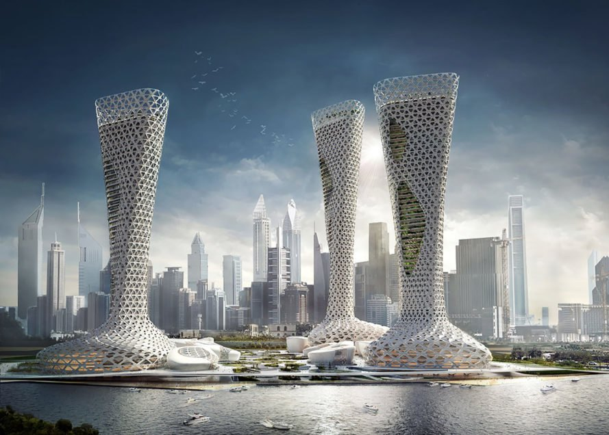 Symbiotic Towers, Symbiotic Towers by AmorphouStudio, AmorphouStudio, architecture, tower, towers, plaza