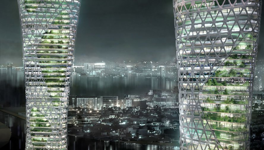 Symbiotic Towers, Symbiotic Towers by AmorphouStudio, AmorphouStudio, architecture, tower, towers, night