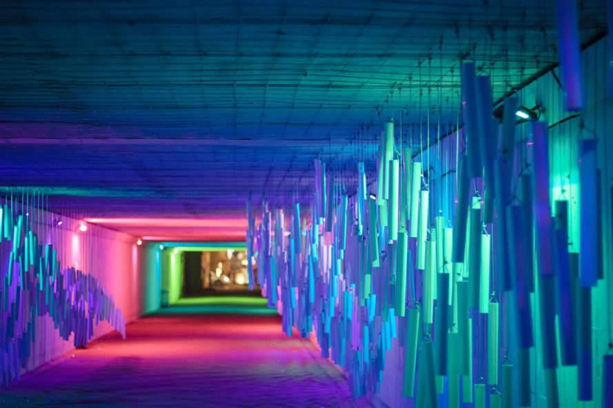 antyRAMA collective, Tunnel Muzyczny, sound installation, underpass, LED lights, temporary installation, sound installation, Poland, PVC, interactive installation