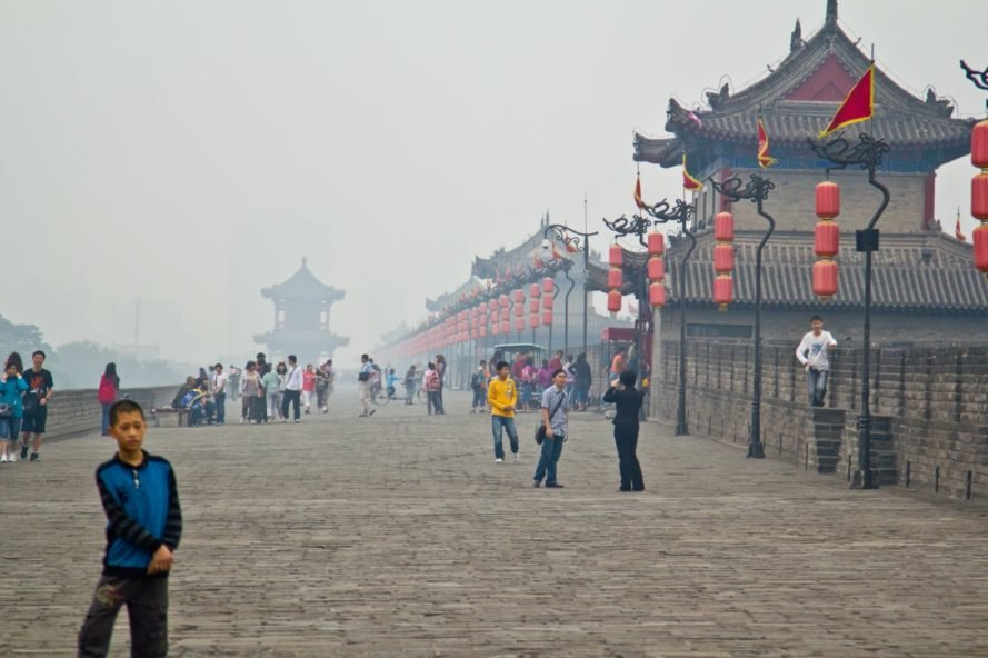 Xian, Xian air pollution, China air pollution, Xian smog, China smog, Xian city walls