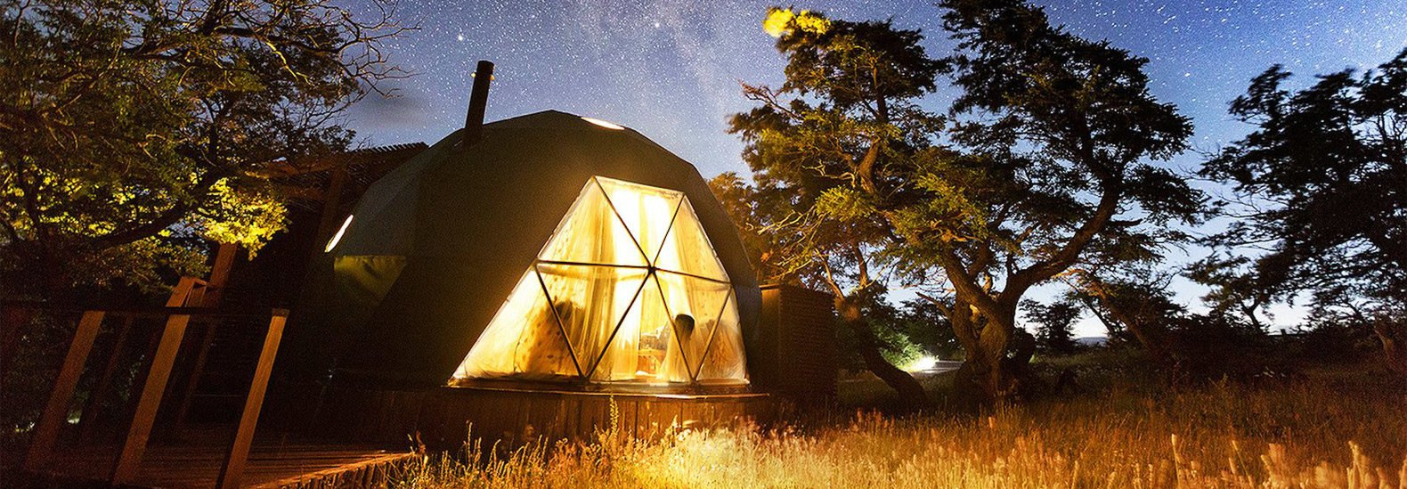 Stay in a cozy geodesic dome at