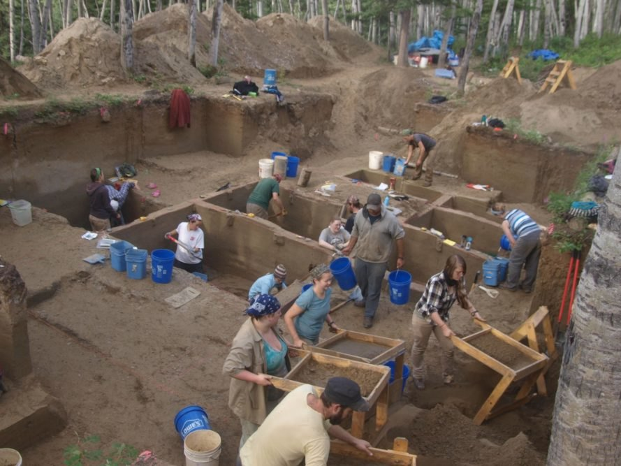 excavation, archaeology, archaeological dig, ancient North American excavation site, ancient village site
