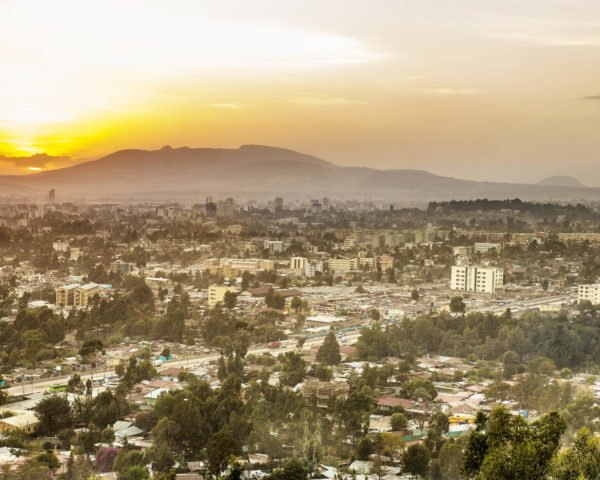 Addis Ababa, Ethiopia, Africa, city, sunset, capital