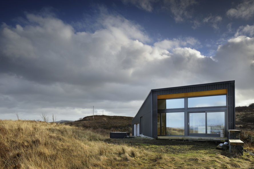 Black House by Rural Design Architects, Isle of Skye architecture, Rural Design Architects self build, self build architecture in Isle of Skye, oriented strand board interior design, black corrugated metal cladding for homes, Black House on Isle of Skye