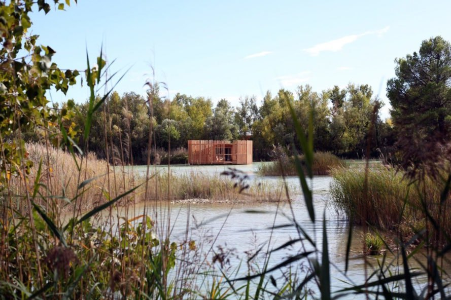 Cabanes des Grands Cepages, Cabanes des Grands Cepages by Atelier Lavit, prefabricated hotel, eco lodge, eco hotel, minimal landscape impact, floating hotel, France eco hotel,