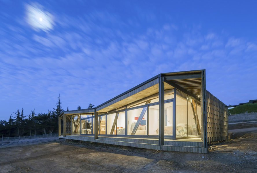 Casa Casi Cubo, L A N D architecture, wooden pavilion, Chile, perforated façade, shelter, pine wood, green architecture, patterns, indoor outdoor living