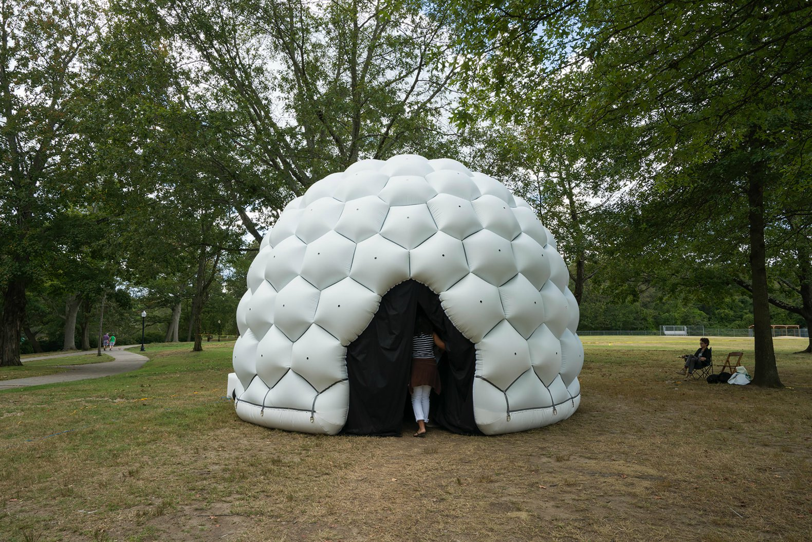 This giant inflatable dome is made of hundreds of tiny pinhole cameras