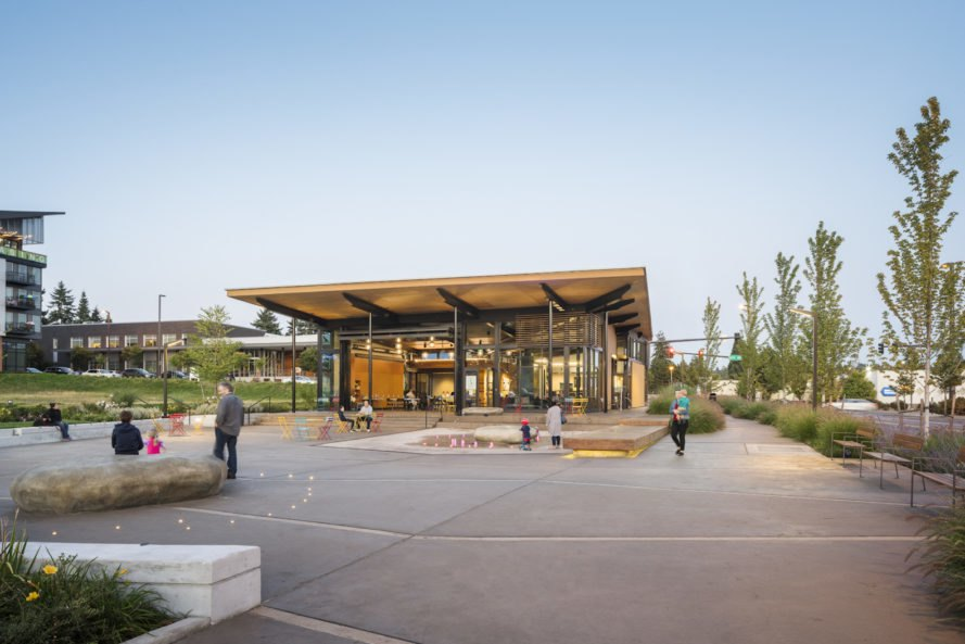 Hangar at Kenmore Town Square by Graham Baba Architects, Kenmore Town Square by Hewitt Landscape Architects, Hangar at Kenmore Town Square, Hangar 2030 Challenge, Kenmore Town Square,