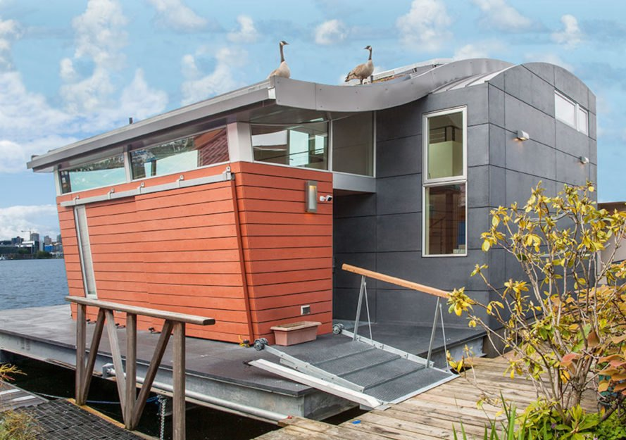 Houseboat H by Lanker Design LLC, Seattle sustainable houseboat, net zero houseboat, net zero floating home, LEED Platinum floating home, LEED Platinum houseboat, houseboat with floating islands,