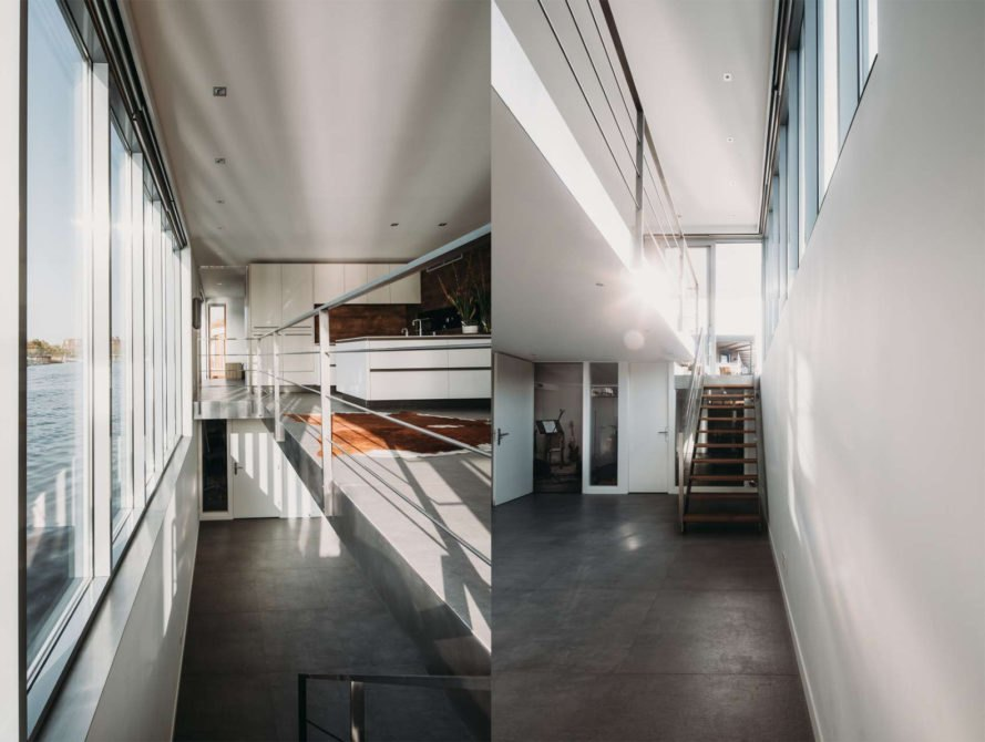 Houseboat Haarlem Shuffle by VanOmmeren-architects, Houseboat Haarlem Shuffle, modern houseboat, energy neutral floating home, energy neutral houseboat, solar-powered floating villa, Spaarme floating house,