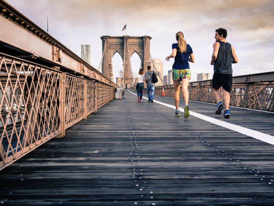Exercise, fitness, runners, running, joggers, jogging, bridge, city