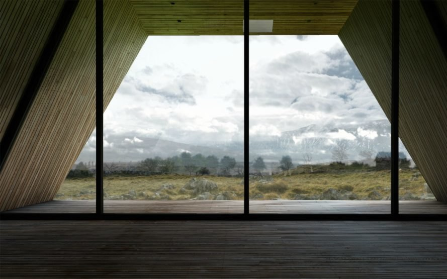 Antony Gibbon's minimalist wooden Jutt House appears to float above the earth