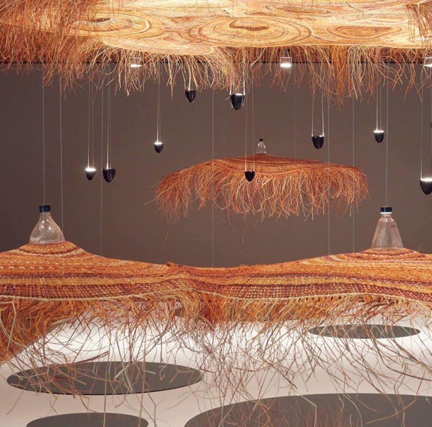 Arnhem Land crafts, PET Lamp Project, PET Lamp Project Australia, PET Lamp Project at NGV Triennial, eco-friendly crafts NGV Triennial, indigenous crafts and upcycling, green light with PET bottles, Alvaro Catalán de Ocón PET Lamp Project