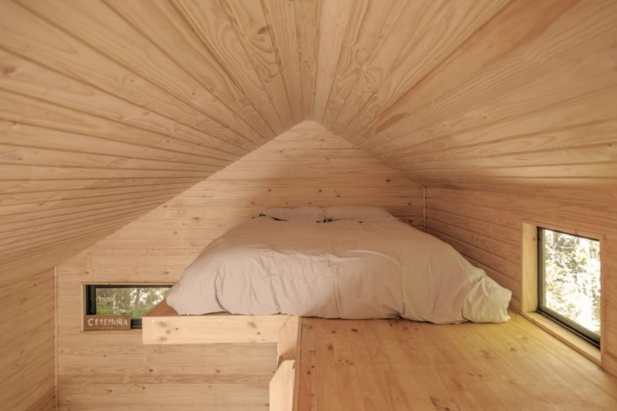 PV Cabin, Lorena Troncoso-Valencia, wooden cabins, cabin design, climbers cabin chile, climbers cabin pinto, tiny cabin, wooden refuge, cabin living, tiny cabins, wooden structures, green design, sustainable design, mountain refuge, sleeping lofts, nature-inspired design,