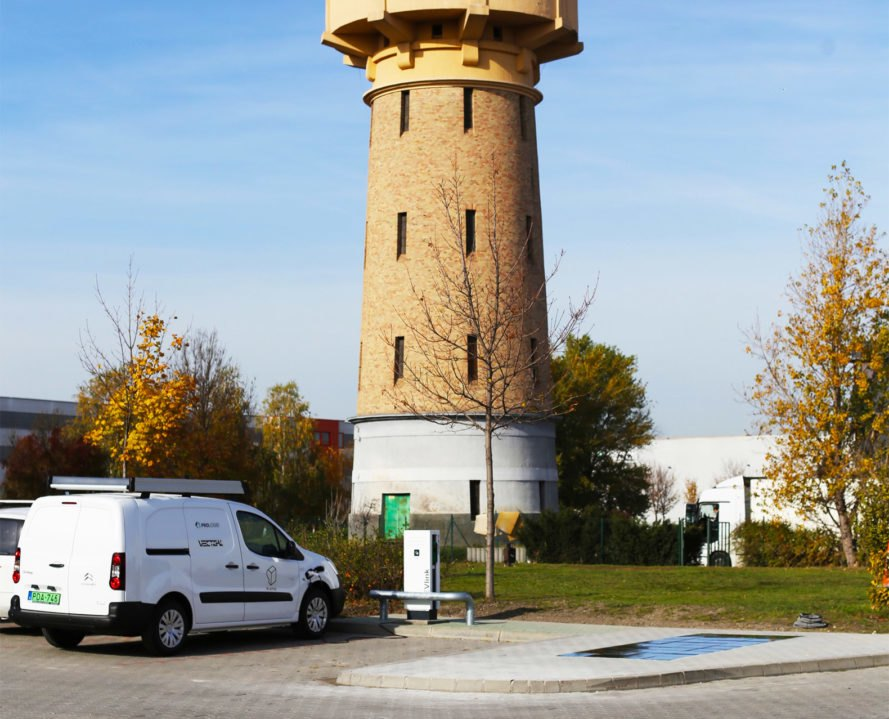 Platio, Prologis, Platio Solar Pavers, tower, EV charging, EV charging station