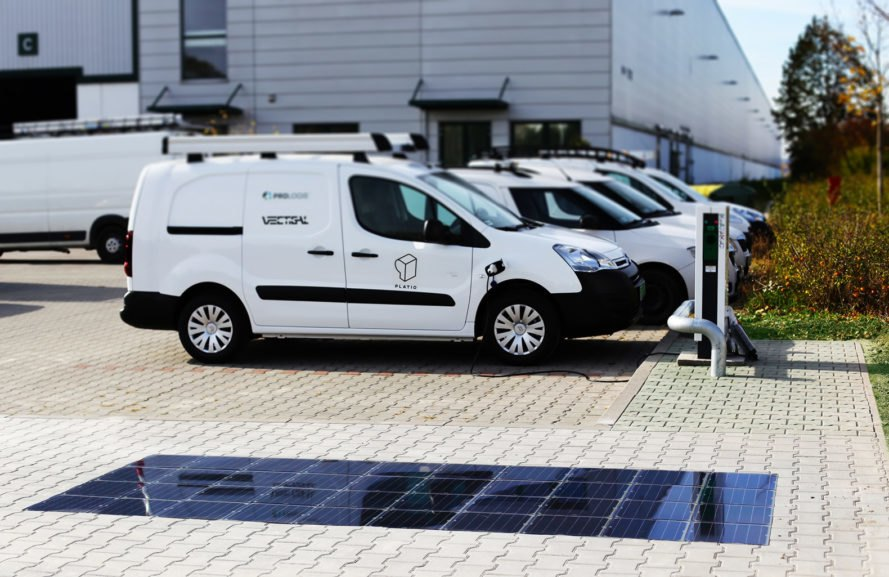 Platio, Prologis, Platio Solar Pavers, EV charging, solar array, sidewalk, solar power, solar energy