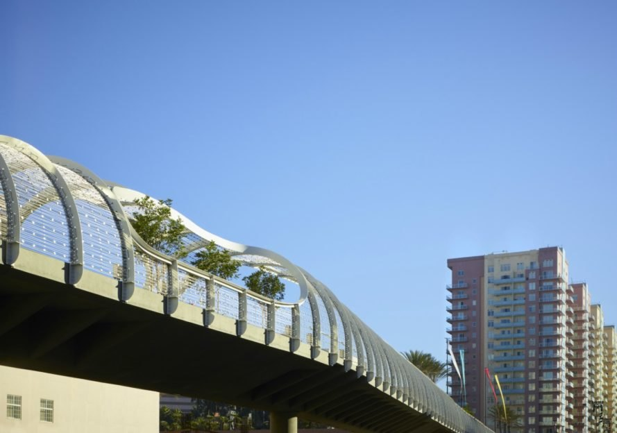 Wave Inspired Rainbow Bridge In Long Beach Is Covered In