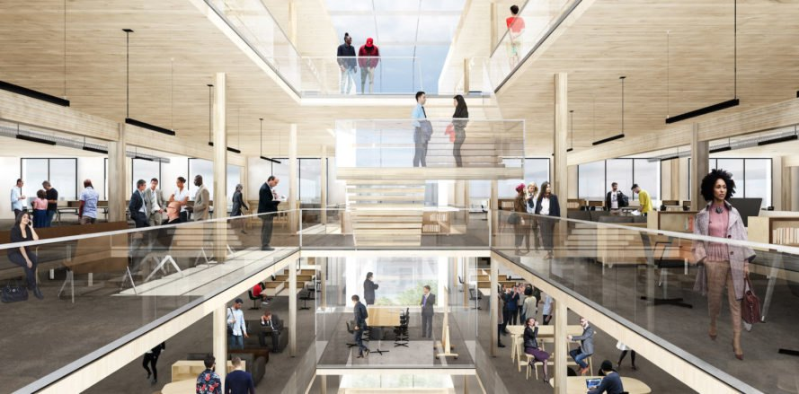 Newark timber office, Riverfront Square office by Michael Green Architecture, Newark mass timber construction, mass timber office building, mass timber architecture in the U.S., exposed timber office interior, Riverfront Square by MGA, MGA Newark project,