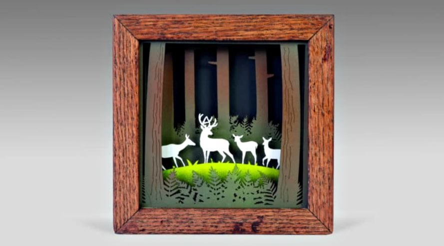 Jason Pancoast, Shadowfox Design shadowbox art, wooden art, wood art, wooden shadowbox, wood sculptures, wood artwork, laser-cut wood, laser-cut wood art, nature-inspired artwork, paper art, oregon artists,