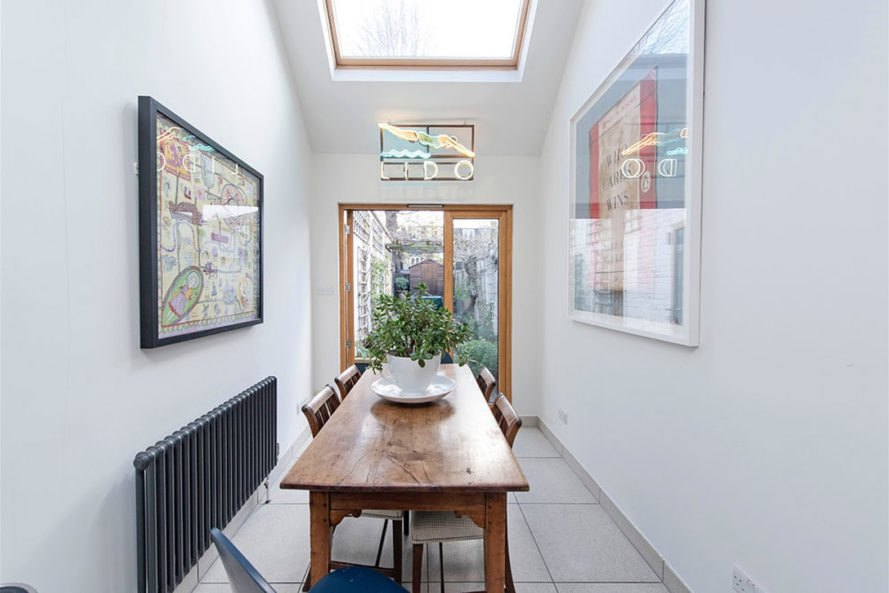 Slim House, skinny houses, London, alma-nac, narrow house, terraced house, sloping roof, skylights, tiny spaces, natural light, green interior, green architecture
