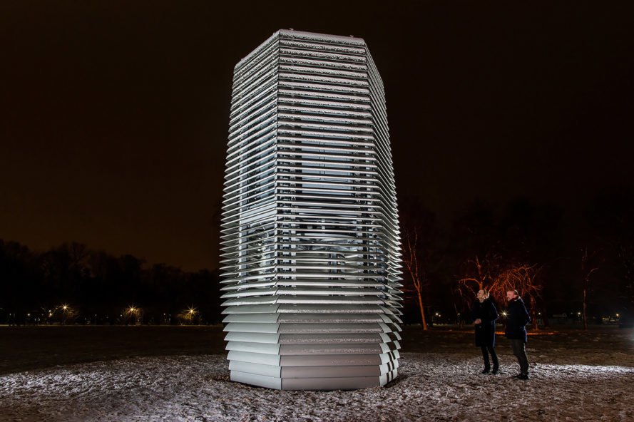 Smog Free Tower, Smog Free Project, Studio Roosegaarde, Poland, Krakow, Park Jordana, tower, design