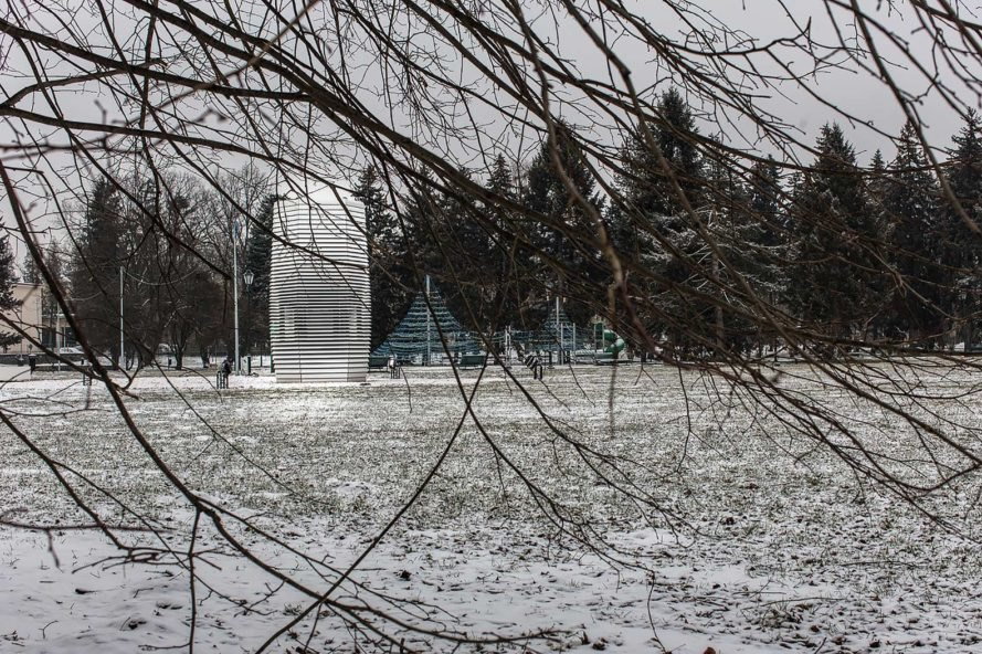Smog Free Tower, Smog Free Project, Studio Roosegaarde, Poland, Krakow, Park Jordana, winter, branches