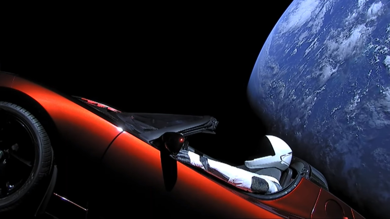 Elon Musk releases historic video of Starman cruising through space in a Tesla Roadster