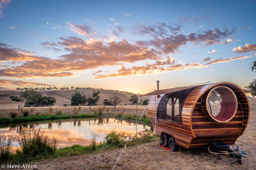 Steve Areen, Unity Wagon, Yandoit Farm, DIY wagon, tiny home, tiny house, caravan, recycled materials, solar-powered, self-built tiny home, curvy wagon home, Steve Areen's wagon home, wagon home in Australia