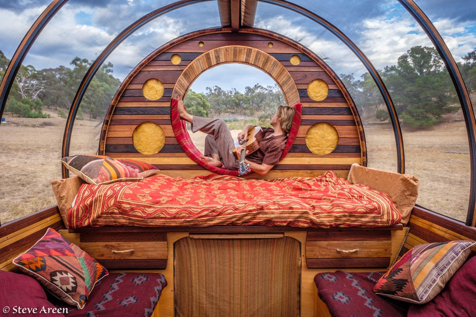 Steve Areen's incredible DIY wagon home built with mostly recycled materials