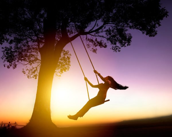 Swing, swinging, tree, woman, sunset, play