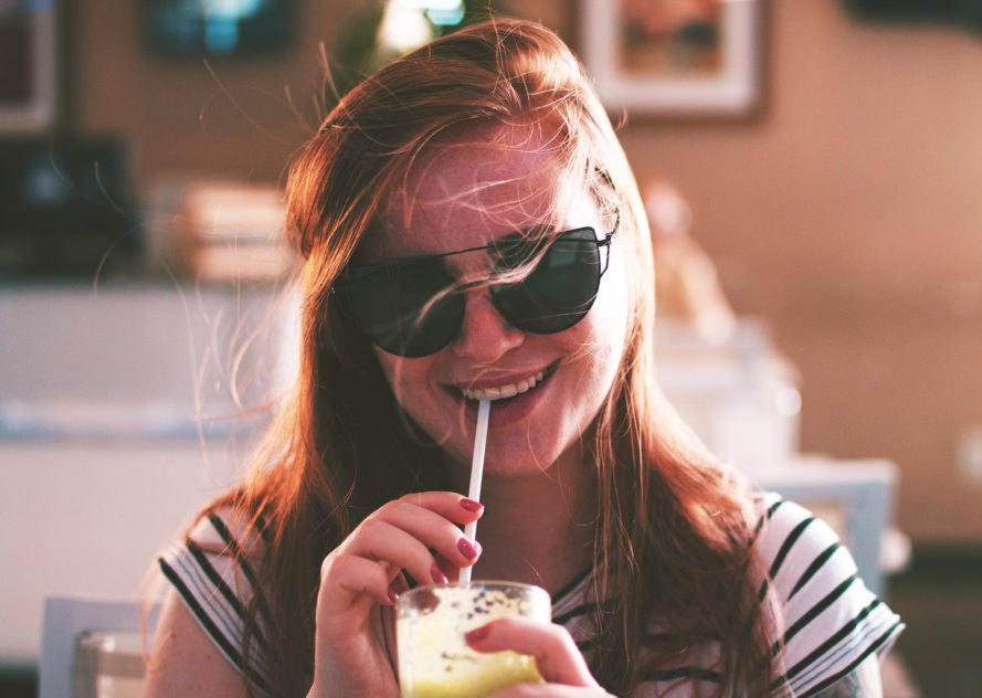 Teen, teenager, woman, girl, drinking, smiling, sunglasses