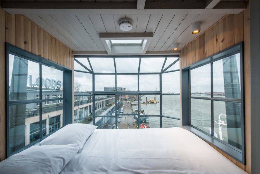 Edward van Vliet and Yays, Edward van Vliet adaptive reuse, Edward van Vliet shipping conatiner apartment, cargotecture in Amsterdam, The Yays - Crane Apartment, The Yays - Crane Apartment AirBnB, The Yays - Crane Apartment in Amsterdam