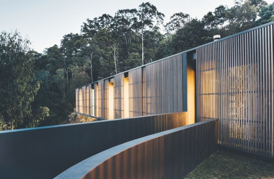Tinbeerwah House by teeland architects, timber sliding screen house, solar powered house in Noosa, glass pavilion house in Australia, Tinbeerwah House in Noosa, sustainable house in Noosa,