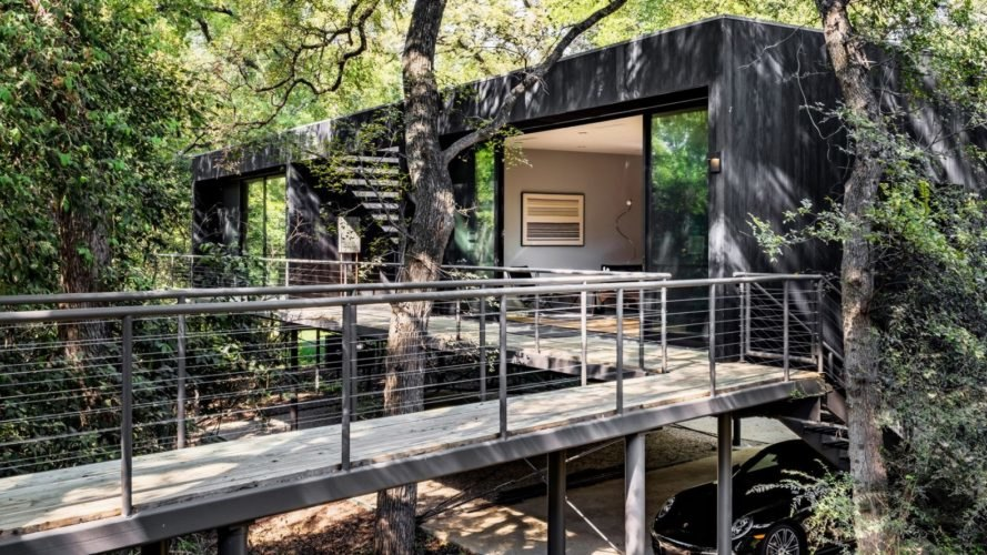 Treehouse, Texas, PH2 Treebox, Wernerfield, guest house, Dallas, elevated house, charred wood, green architecture, staircase, burnt wood