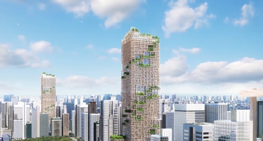 W350 Project by Sumitomo Forestry, timber architecture, W350 Tokyo, W350 skyscraper, W350 Japan, Japan timber architecture, Japanese timber high-rise, tallest timber building, timber and steel skyscraper,