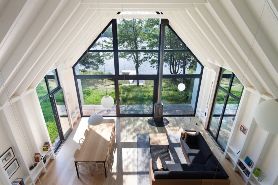 Window on the Lake by YH2 Architecture, Window on the Lake Quebec, Lac Plaisant cabin, balloon frame cabin, white cedar cabin, glazed end wall cabin, minimalist modern cabin architecture,