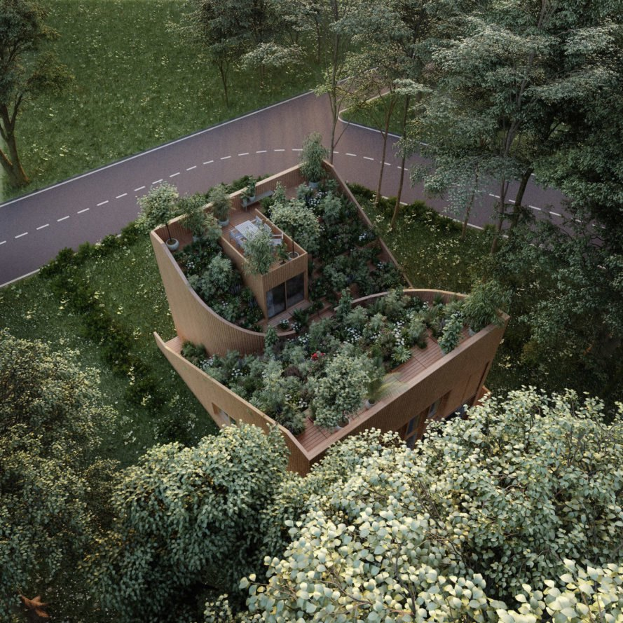 Yin & Yang House by Penda, Yin & Yang House Kassel, off grid garden architecture, rooftop garden off grid, Yin & Yang House, off grid Yin Yang House, self sufficient architecture Kassel, Penda off grid architecture, terraced garden house