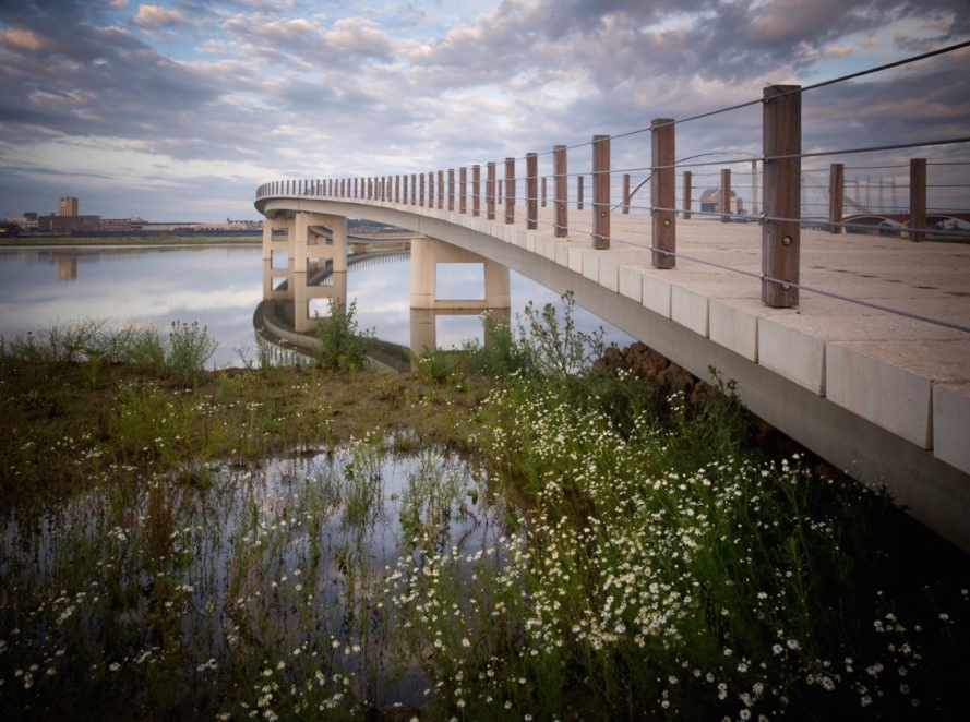 Zalige Bridge in Nijmegen, Zalige Bridge by NEXT Architects and H+N+S Landscape Architects, embracing floods in architecture, coexisting with water architecture, Waal River bridge, Room for the River Netherlands projects, footbridge architecture, unusual bridge design
