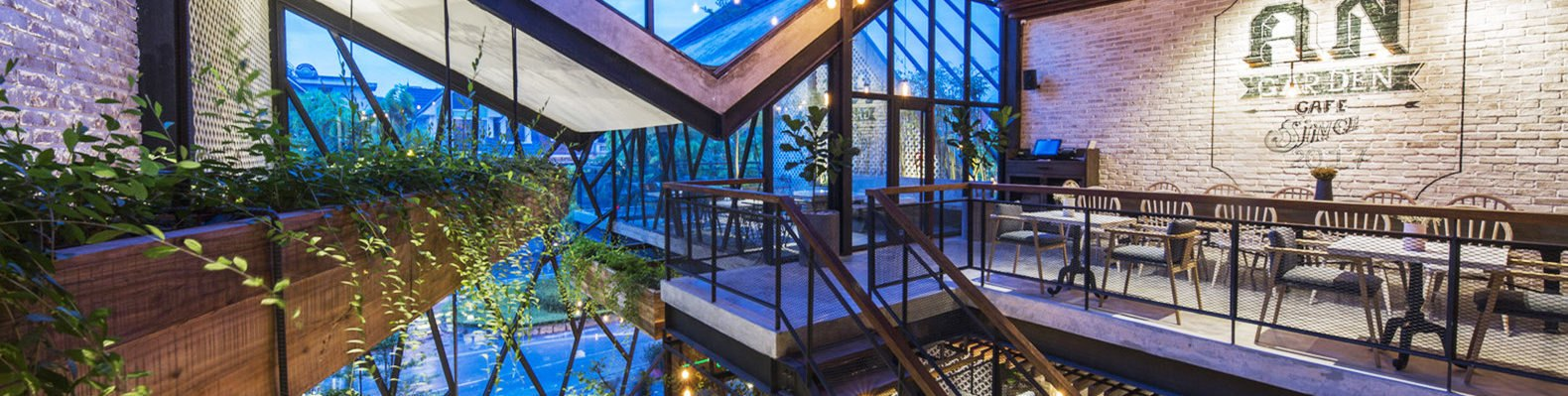 An'garden Café, coffee shop, handing plants, Ha Noi, Vietnam, cement, mezzanine, natural light, indoor pond, green interior, green architecture, industrial architecture