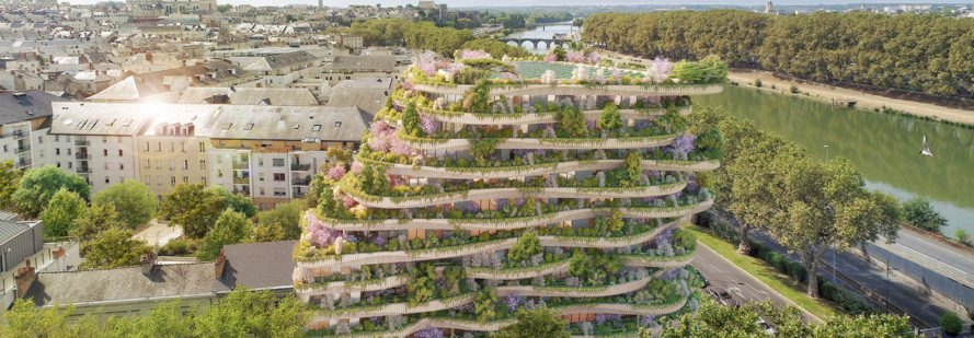 Vincent Callebaut Architectures, Arboricole, biophilic building in France, plant-covered building in France, urban agriculture, urban vertical garden, agritecture, energy-conserving building