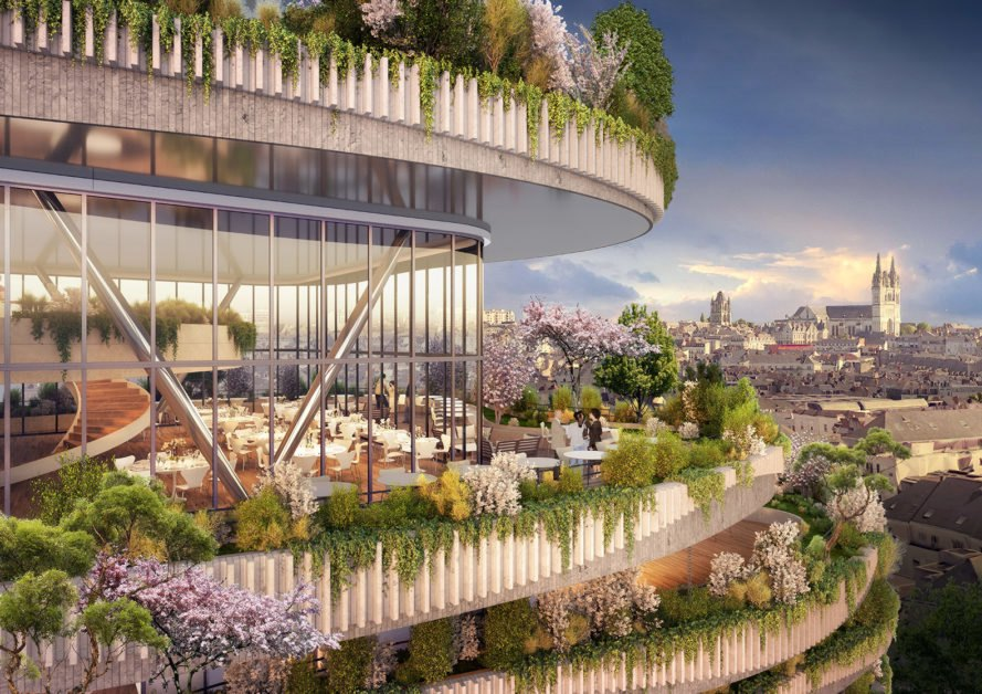 Vincent Callebaut Architectures, Arboricole, biophilic building in France, plant-covered building in France, urban agriculture building, urban vertical garden, agritecture, energy-conserving building